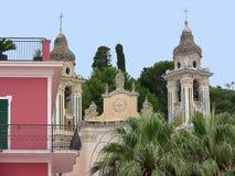 Detalle de la iglesia de Italia Laigueglia San Matteo Fotos de archivo