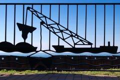 Detalle de la industria siderúrgica de la draga del lago Foto de archivo