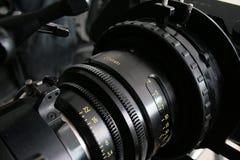 Detalle de la lente, cámara digital del cine foto de archivo