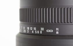 Detalle de la lente de cámara en la longitud focal foto de archivo