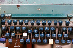 Detalle de la máquina de escribir tailandesa del alfabeto del vintage Fotografía de archivo