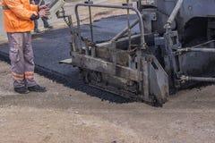 Detalle de la máquina 2 de la pavimentadora del asfalto imagen de archivo