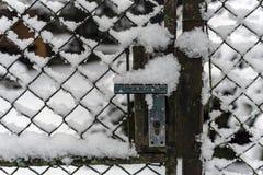 Detalle de la manivela de la puerta de jardín cubierta con nieve imagen de archivo