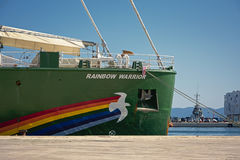 Detalle de la nave de Greenpeace Rainbow Warrior Foto de archivo
