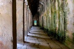 Detalle de la puerta antigua en TA Prohm Angkor Wat Cambodia imágenes de archivo libres de regalías