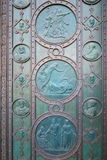 Detalle de la puerta de la iglesia de los santos Cyril y Methodius Fotos de archivo