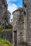 Detalle de la puerta del castillo de Eilean en Escocia Foto de archivo