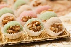 Detalle de la tabla dulce en partido de la boda o del evento Fotos de archivo
