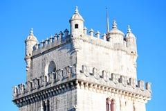 Detalle de la torre de Belem en Lisboa Portugal Foto de archivo libre de regalías