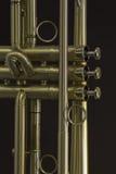 Detalle de la trompeta del oro imagen de archivo libre de regalías