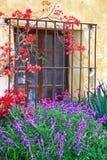 Detalle de la ventana en la misión Carmel Imagenes de archivo