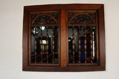Detalle de la ventana en Masjid Kampung Hulu en Malaca, Malasia Imagen de archivo libre de regalías
