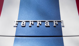 Detalle de las letras de Ferrari Imágenes de archivo libres de regalías