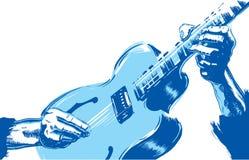 Detalle de las manos que tocan la guitarra libre illustration