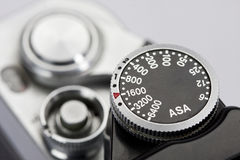 Detalle de las marcas del ASA en cámara retra Imagenes de archivo