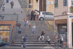 Detalle de las pinturas de Le Mur des Canuts Imagen de archivo