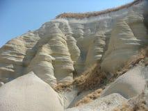 Detalle de las rocas amarillas blancas y claras en el parque natural de Goreme en Capadoccia en Turquía fotografía de archivo libre de regalías