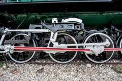 Detalle de las ruedas en el tren del vapor Imagen de archivo