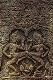 Detalle de las tallas de piedra en el wat del angkor, Camboya Foto de archivo libre de regalías