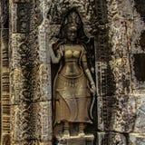 Detalle de las tallas de piedra en el wat del angkor, Camboya Imagenes de archivo