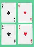 Detalle de las tarjetas que juegan de los as Foto de archivo libre de regalías