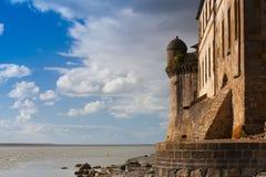 Detalle de Le histórico famoso Mont Saint-Michel Normandy, Francia Fotos de archivo