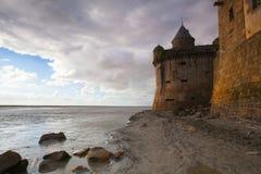 Detalle de Le histórico famoso Mont Saint-Michel Normandy, Francia Foto de archivo