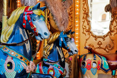 Detalle de los caballos del carrusel Fotos de archivo