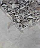 Detalle de los escombros y del hormigón en un sitio de demolición Foto de archivo libre de regalías