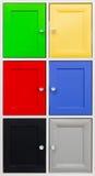 Detalle de puertas coloridas con las manijas agradables imagenes de archivo