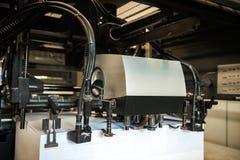 Detalle de rodillos en máquina de impresión en offset Foto de archivo