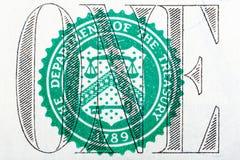 Detalle de un billete de dólar en macro Imagenes de archivo