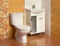 Detalle de un cuarto de baño lujoso con el fregadero y el retrete fotografía de archivo libre de regalías