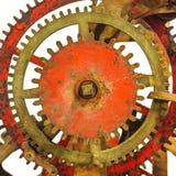 Detalle de un mecanismo antiguo oxidado del reloj de la iglesia Foto de archivo libre de regalías