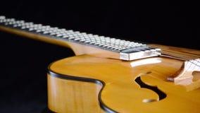 Detalle de un rotatint clásico de la guitarra eléctrica del jazz en fondo negro metrajes