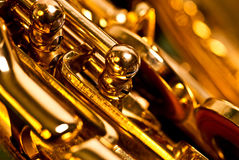 Detalle de un saxofón del alt imagen de archivo libre de regalías