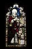 Detalle de un vitral con un pastor en Crowland Abb Imágenes de archivo libres de regalías