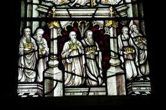 Detalle de un vitral en la abadía de Crowland, Crowland, Li Foto de archivo