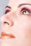 Detalle de una cara con maquillaje fotos de archivo