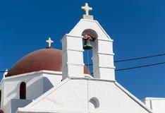 Detalle de una iglesia en Mykonos - Grecia Foto de archivo libre de regalías