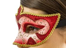 Detalle de una mujer con una máscara veneciana Imágenes de archivo libres de regalías