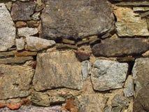 Detalle de una pared de piedra vieja de un edificio rural, textura de la piedra natural Foto de archivo libre de regalías