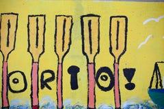 Detalle de una pintada marítima 2 del tema del niño stock de ilustración