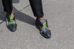 Detalle de zapatos en la semana de la moda de Milan Men Fotos de archivo libres de regalías