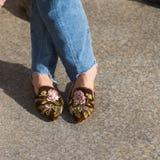 Detalle de zapatos en la semana de la moda del ` s de Milan Men Imagenes de archivo