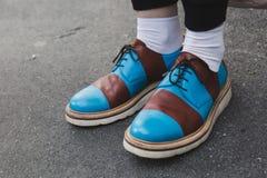 Detalle de zapatos en la semana de la moda del ` s de Milan Men Foto de archivo libre de regalías