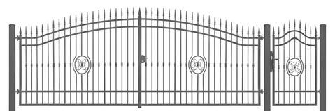 Detalle decorativo forjado de la entrada del vintage de la puerta de la mansión del peatón y del transporte, gris oscuro detallad Imagen de archivo libre de regalías