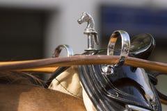 Detalle del arnés, de los terrets y de la silla de montar del caballo fotos de archivo libres de regalías