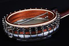 Detalle del banjo en fondo negro Foto de archivo libre de regalías