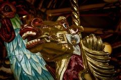 Detalle del caballo en el carrusel Imagenes de archivo